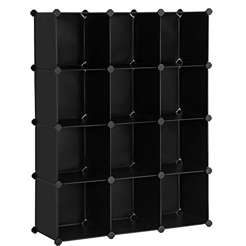 SONGMICS Cube Storage, 12-Cube Book Shelf Organizer Units, DIY Modular Closet Cabinet, Bookcase, Ideal for Living Room, Closet, Includes Rubber Mallet, 36.6 x 12.2 x 48.4 Inches, Black ULPC34BK