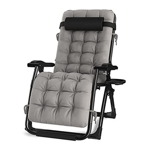 Liegestuhl Deluxe übergroßer Zero Gravity Stuhl Klappstühle Mit Getränkehalter Kissen für Strand, Schwimmbad, Garten, Außen Innenbereich, Unterstützung 200 kg,Schwarz