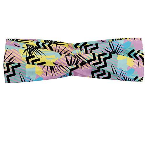 ABAKUHAUS Diadame Abstracto, Banda Elástica y Suave para Mujer para Deportes y Uso Diario Composición creativa peculiar con vibrante y enérgico hojas zigzags y Trazos, Multicolor