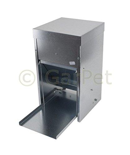 Hühner Geflügel Futterautomat mit Tritt Klappe Platte Futter Trog Spender Silo (Futterautomat 10 L)