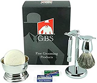 Shaving Gift Set Comes with Gift Box Safety Razor (Barber Pole Handle 38001 (38c)) Bowl, GBS Shaving Soap, Badger Brush, Stand and Safety Razor + Blades