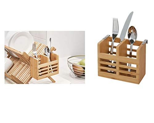 iDesign Besteckkorb für die Küchentheke, den Schrank oder Esstisch, kleiner Besteckkasten aus Bambus, tragbarer Korb mit 2 Fächern für Silberbesteck, beige