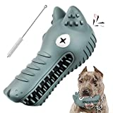 Almost Indestructible Dog Toys for Aggressive Chewers Tough Dog Chew Toy Large Breed Extra Durable Dog Toys for Medium Large Dogs Natural Rubber Squeaky Wolf Dog Toys for Teeth Cleaning Grey