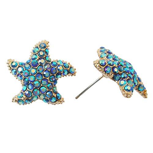 Navachi 18k Gold Plated Star Fish Blue Crystal Az2061s Stud Earrings