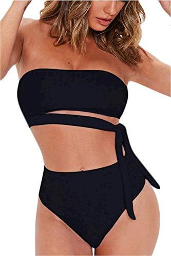 FAFOFA Women's Two Pieces Swimwear Off Shoulder Bandeau Crop Top + High Waist Bottom Bikini Set Outfit L Black