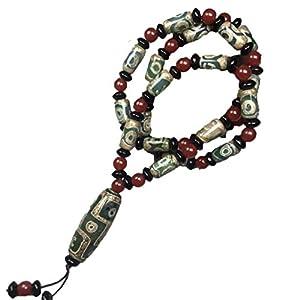 ZHIBO Halskette mit tibetisch-grünem Achat dzi Perlen für Herren und Damen