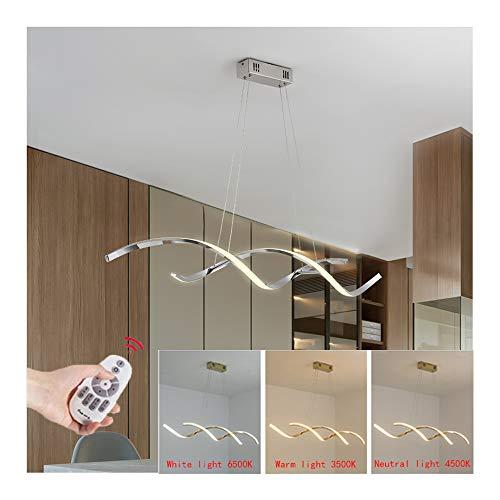 Lampara Colgante LED Mesa de Comedor Luz de Techo Regulable con Control Remoto Moderno Espiral Diseno Iluminacion Pendiente Arana para Dormitorio Habitacion Salon Restaurante Cocina Plafon,B 110cm 30w