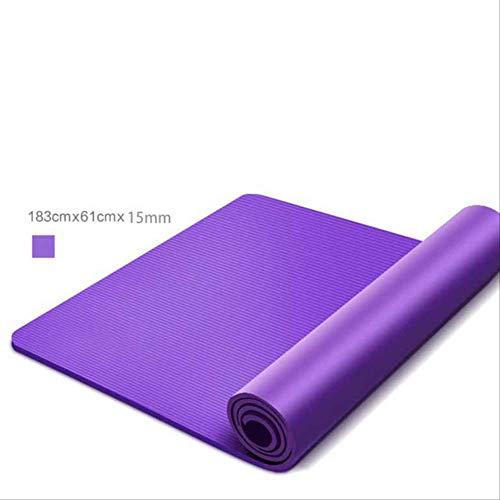 Yogamatten met fysieke lijn, dik, warm, yoga, pilates mats, gymnastiek, balanspads fitnessmats, 183 x 61 x 1,5 cm Azul
