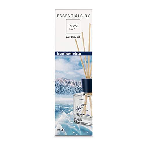 Ipuro Essentials Raumduft frozen winter - Raumduft-Set für eine erfrischend-winterliche Atmosphäre - (100ml) - aus Glas mit Rattanstäbchen, IFC0223