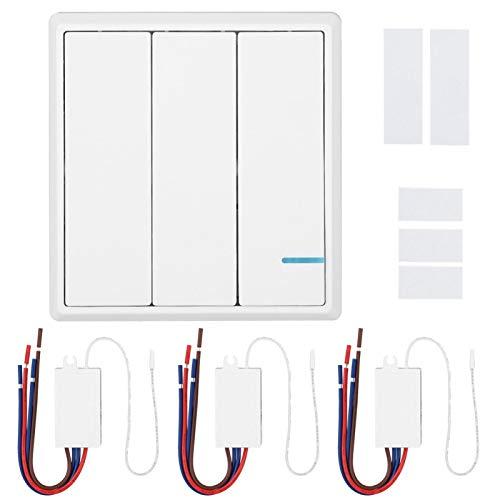 DAUERHAFT Interruptor de RF inalámbrico IP54 Interruptor de Control Remoto a Prueba de Humedad Interruptor de Control Remoto de RF ABS,(3-Way Wireless Switch)