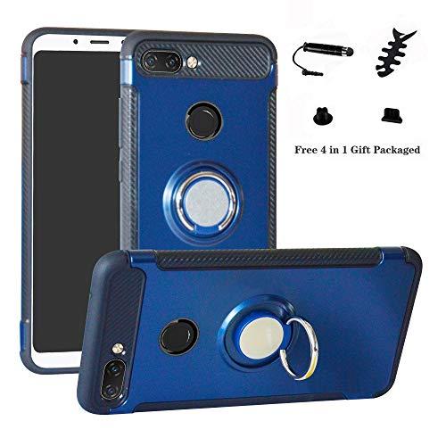 LFDZ Xiaomi Mi 8 Lite Hülle, 360 Rotation Verstellbarer Ring Grip Stand,Ultra Slim Fit TPU Schutzhülle für Xiaomi Mi 8 Lite (mit 4in1 Geschenk Verpackt),Deep Blue