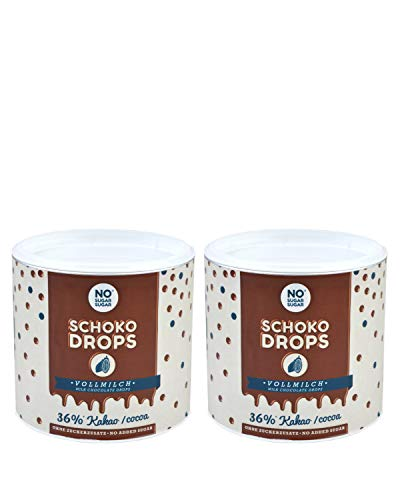 NO SUGAR SUGAR Schokodrops Vollmilch Schokolade mit 36% Kakao Anteil (2x250g) Hergestellt in Belgien ohne Zuckerzusatz, gesüßt mit Erythrit und Stevia nach Fairtrade-Standards gehandelt