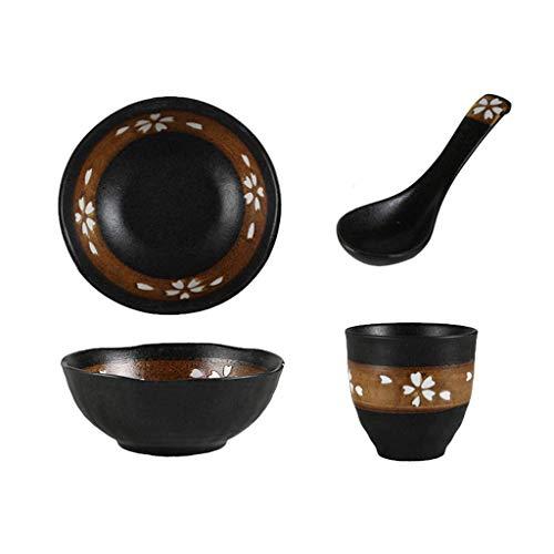 HAIlIA Tableware, Estilo japonés 1 persona Set de cubiertos Sushi plato de cerámica cuchara Copa Vajilla retro