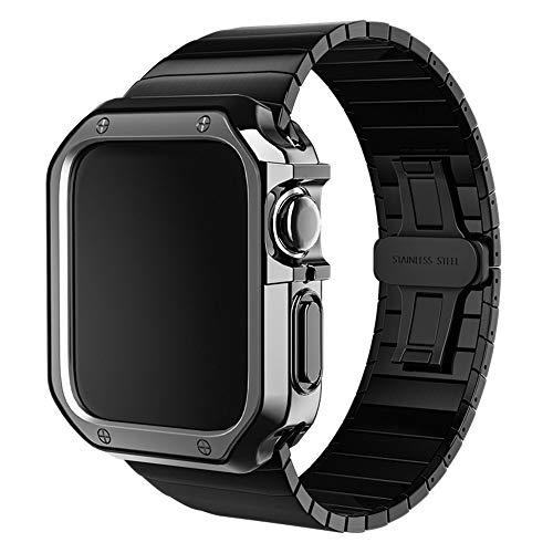 Cinturino in acciaio inox con custodia protettiva, 38 mm, 40 mm, 42 mm, 44 mm, cinturino di ricambio per Apple Watch Series 6 5 4 3 2 e Apple Watch SE, 38/40, TPU.,