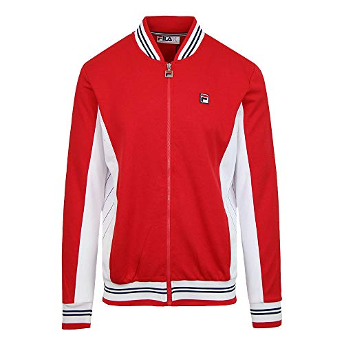Fila Vintage Settanta Baseball Track Jacket - Chinese Red/Navy/White-L