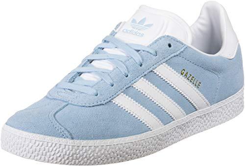adidas Originals Gazelle J Cielo Limpio/Oro Metalizado/Blanco Ante Jóvenes Entrenadores Zapatos