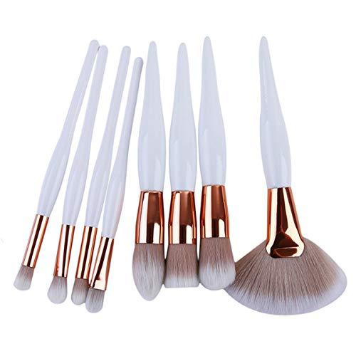 Beiswin 8pcs kit de brosses à sourcils manche en bois brosse de maquillage en fibre de nylon pour femmes accessoires cosmétiques outils (blanc)