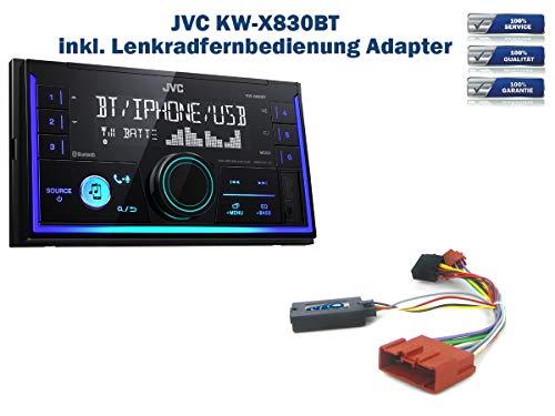 Autoradio JVC KW-X830BT geeignet für Mazda 2 | 3 | 5 | 6 | 626 | CX-5 | CX-7 | MPV | MX-5 | Premacy inkl. Lenkrad Fernbedienung Adapter