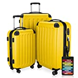 HAUPTSTADTKOFFER - Spree - 3er Koffer-Set + Kofferanhänger - Handgepäck 55 cm, mittelgroßer Koffer 65 cm, großer Reisekoffer 75 cm, TSA, 4 Rollen, Gelb