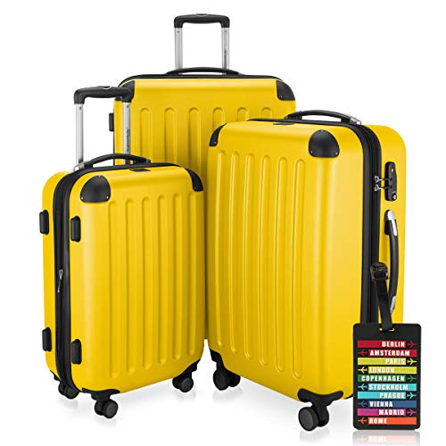 Hauptstadtkoffer - Spree - 3er-Koffer-Set Trolley-Set Rollkoffer Reisekoffer-Set Erweiterbar, TSA, 4 Rollen, (S, M & L), Gelb inkl. Design Kofferanhänger