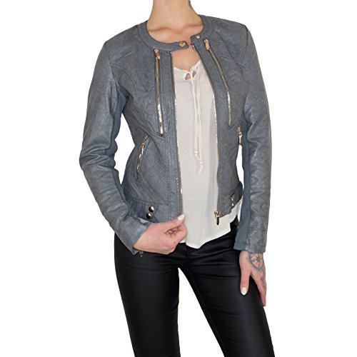 Dresscode-Berlin DB Damen Lederjacke Blouson aus Kunstleder in grau (XL / 42, Grau)
