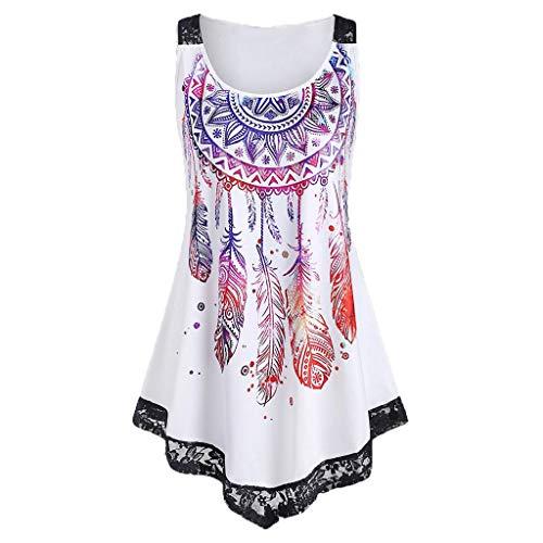 KIMODO Tops T-Shirt Damen Shirt Chiffon Bluse Langarmshirt Frauen Sommer Mode Lässige V-Ausschnitt Wasserdruck Ärmelloses Geknotetes Tanktop (Weiß-A, XXL)