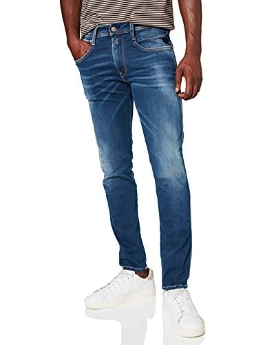 REPLAY Anbass Hyperflex Re-Used Xlite Jeans, 009 Azul Medio, 32 W / 32 L para Hombre