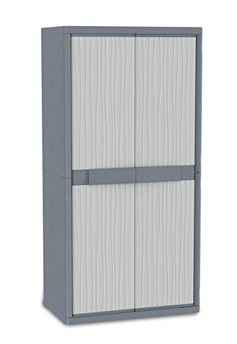Terry Wave Jumbo 3900 Armario Especialmente Espacioso con 2 Puertas, Divisor Vertical, 4 estantes internos, Gris, 89,7x53,7x180 cm