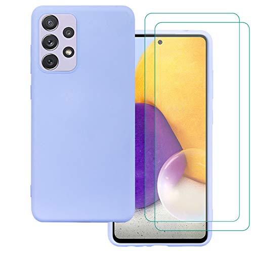 Weideworld Samsung Galaxy A52 5G/4G Funda + [2 Pack] Cristal Templado, Carcasa de Silicona [Protección para Cámara] Soft TPU Funda para Samsung Galaxy A52 5G/4G, Morado