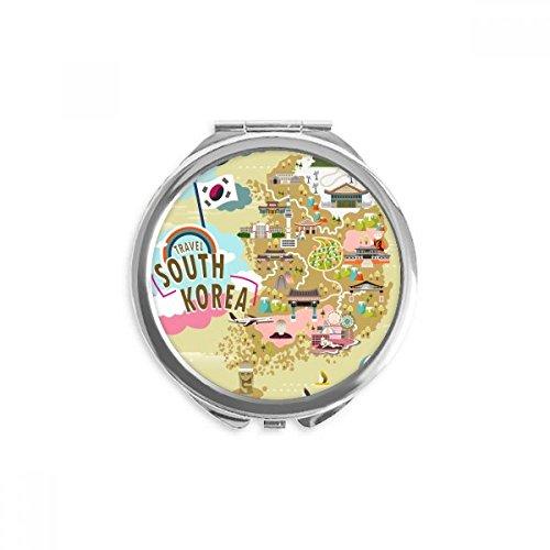 DIYthinker corée du sud plan amour miroir voyage ronde maquillage de poche à la main portable 2,6 pouces x 2,4 pouces x 0,3 pouce Multicolore
