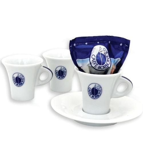 6 Caffe Borbone Tassen Espresso mit Unterteller Porzellan Tazze