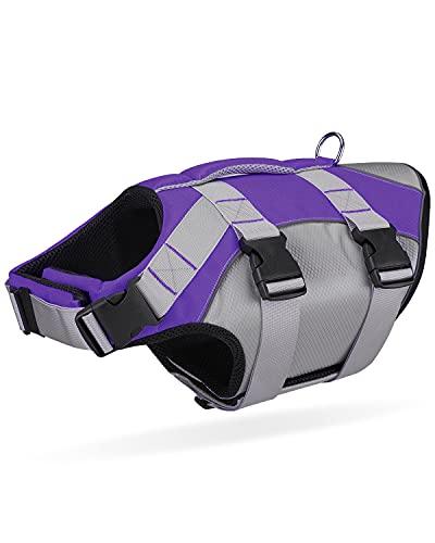 Dog Life Jacket with Superior Buoyancy & Rescue Handle - Reflective Dog Life Vest Durable Lightweight - Adjustable Dog Swimsuit Dog Floatation Vest for Small Medium Dogs (Purple, Large)