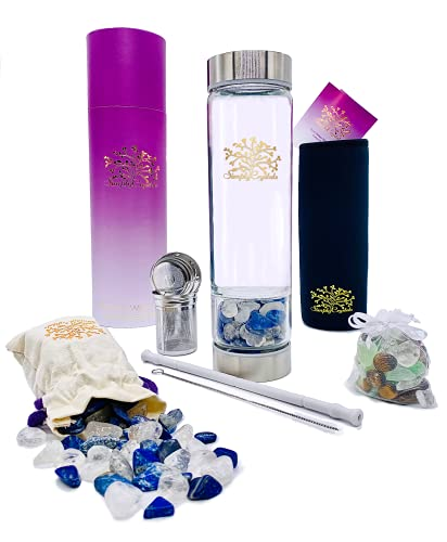 Simply Crystals Wellness Water Bottle with Tea and Fruit Infusers plus a Bonus 2nd Bag of Crystals and One Reusable Silicone Straw (SS Lapis and Clear Quartz mix)