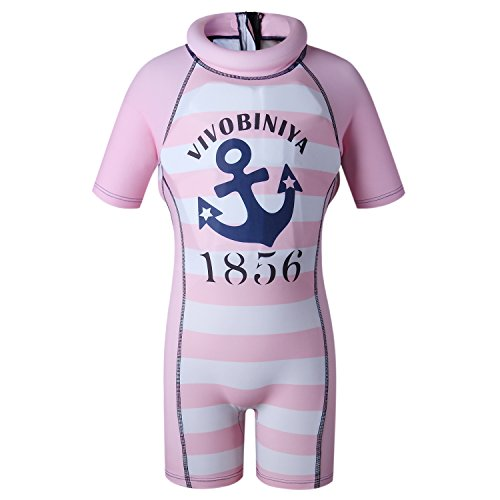 Kids Swimsuits Floatation Swimsuits One-Piece Swimsuits with Sun Hats (M(35.4-39.3in Height), Pink(not hat))