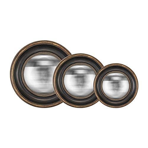 """EMDE - Set di 3 specchi da parete rotondi \""""Convexe\"""", colore: Nero"""
