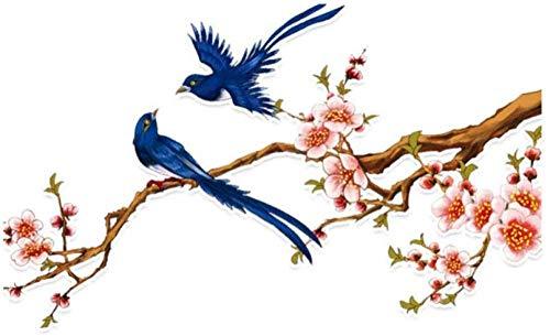 hutianyu 14.9X9Cm Plum Blossom Vogel Vlucht Pvc Decor Auto Sticker Gekleurde 2 Stks/Set