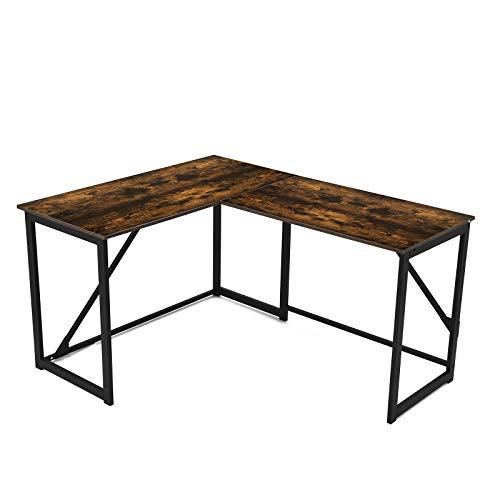 """HILERO L-Shaped Computer Desk, 47"""" Industrial Corner Desk Large Workstation Space-Saving Desk for Home Office, Rustic Brown"""