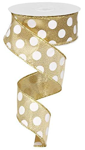 Polka Dot Wired Edge Ribbon (1.5 Inches, Gold White) - 50 Yards
