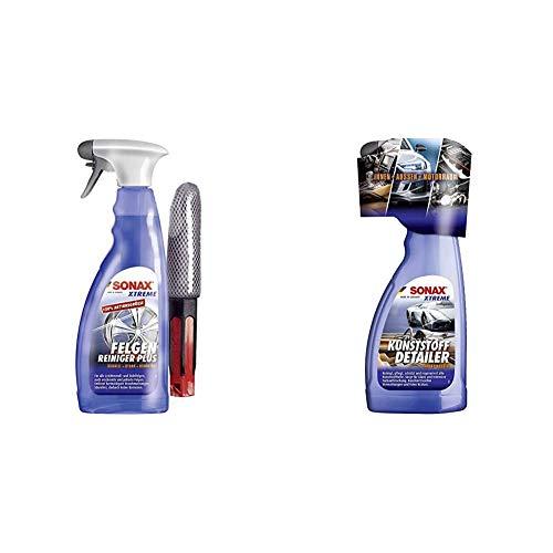SONAX Xtreme Felgenreiniger Plus säurefrei (750ml) Felgenbürste & Xtreme KunststoffDetailer Innen + Außen (500 ml) Reinigung, Pflege und Schutz für das gesamte Fahrzeug | Art-Nr. 02552410