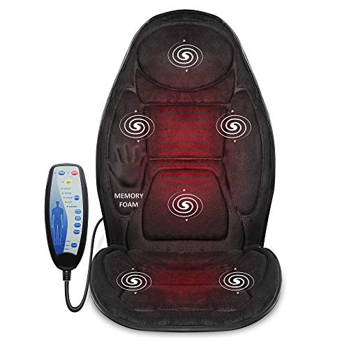 Snailax Cojín de asiento de masaje con espuma de memoria -masajeador de espalda con calor, 6 nodos de masaje de vibración y 3 almohadillas térmicas SL262M
