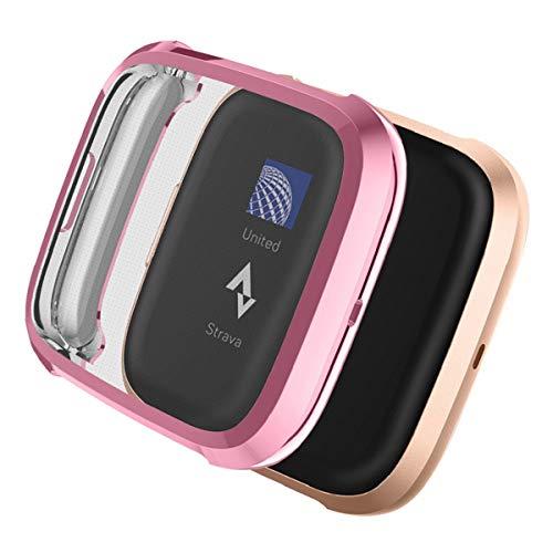 YoLin [2-Pack] Fitbit Versa 2 Schutzhülle Hülle, Weiche Ultradünne TPU Displayschutz All-Around Case für 2019 New Fitbit Versa 2 (1 Pink + 1 Transparent)