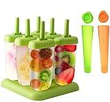 Queta Lot de 6 Moules à Glace avec Batonnet, 2 Moules à Glaçons à Sucettes Glacée pour Enfant et Adulte, Sans BPA, Vert, Orange