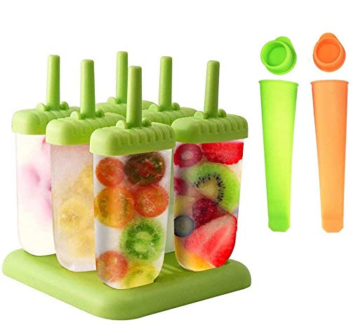 Queta Eisformen, 6 Stück EIS am Stiel und 2 Stück Eislutscher Popsicle Formen Set für Kinder und Erwachsene, Grün, Orange