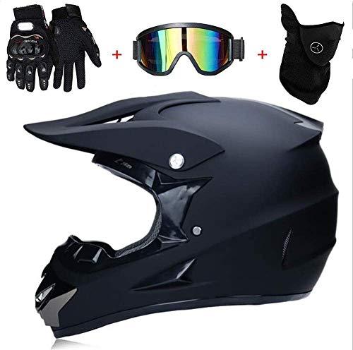 Casco de motocross, con guantes/máscara/gafas,protección de seguridad para ATV Downhill, casco de bicicleta de montaña, casco de resistencia completo, casco de moto (M)