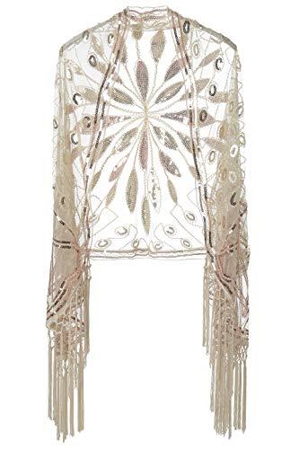 Coucoland Damen Umschlagtücher Stola für Abendkleid Retro 1920s Schal Hochzeit Braut Schal Schulter Bedeckung 20er Jahre Stil Gatsby Kostüm Accessoires (Beige)