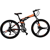"Eurobike Folding Bike 21 Speed Full Suspension Mountain Bicycle 27.5"" Daul Disc Brake (Orange)"