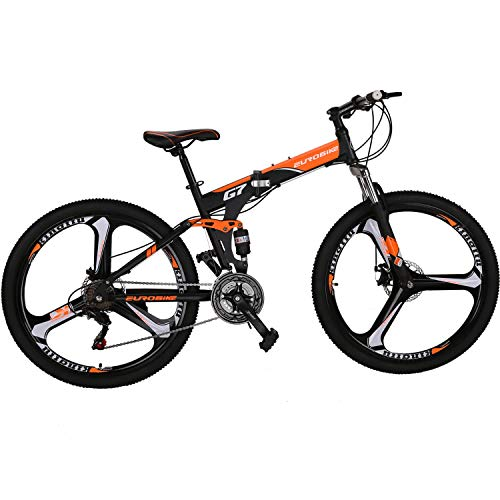 "Eurobike Folding Bike 21 Speed Full Suspension Mountain Bicycle 27.5"" Daul Disc Brake Mens MTB (Orange)"