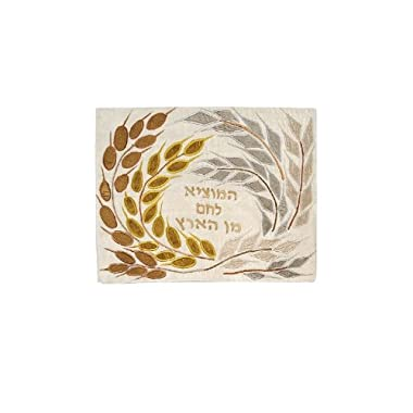 Yair Emanuel Challah Cover with Gold Wheat and Barley in Raw Silk