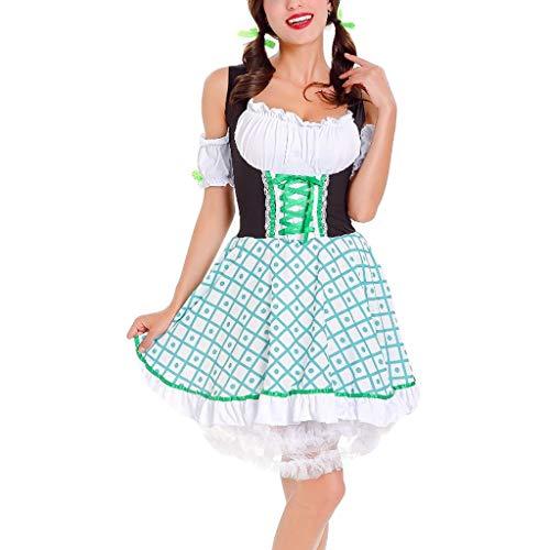 ZEELIY Dirndl Set - Damen Dirndl Set Trachtenkleid Bierfest Midkleid Oktoberfest Karneval Halloween Cosplay München Traditionelle Kleidung