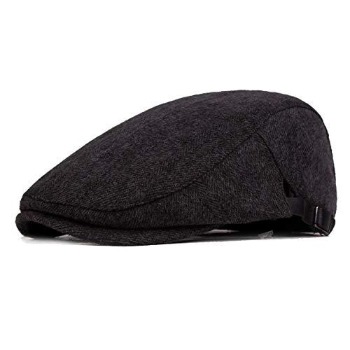 Fasbys Baschi Scozzesi da Uomo Berretto Piatto Uomo Vintage Cappello (Black)